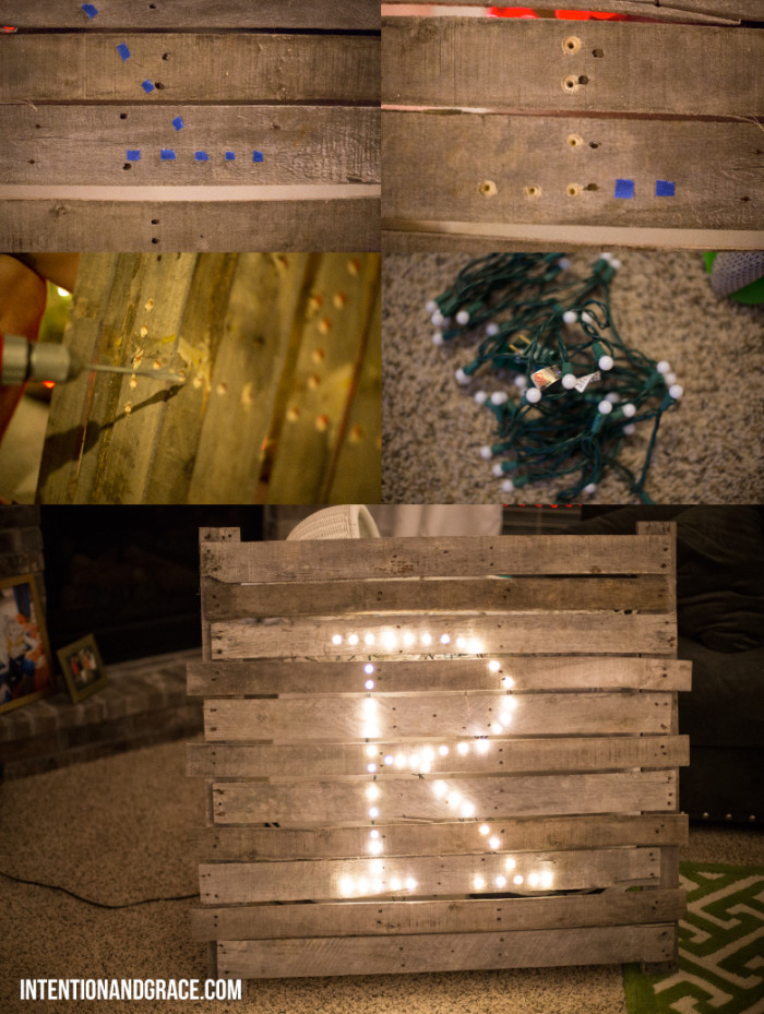 DIY Christmas Light Pallet Mantel Sign-4
