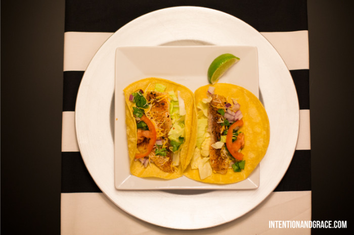 Easy Fish Tacos  |  Intentionandgrace.com  | Mexican food, tilapia, lime, cilantro, onion, avocado, etc