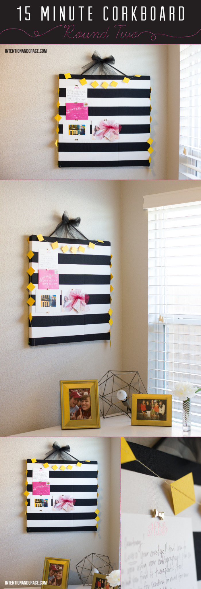 Make a Ten Dollar Striped Corkboard in Ten minutes with this easy DIY  |  intentionandgrace.com
