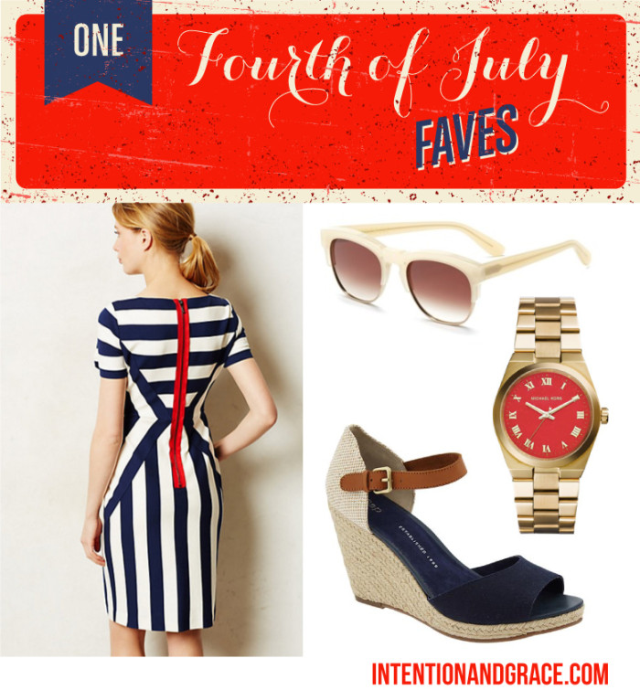 Fourth of July Fashion Style for fireworks, lake trips, picnics, work and more. Acessorize in your Red, White and Blue, or wear your favorite American flag t  |  Intentionandgrace.com
