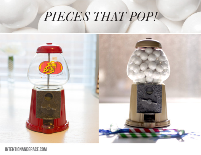 Gold Gum ball Candy machine DIY for $10 and a can of spray paint. Great piece for office or party.     Intentionandgrace.com