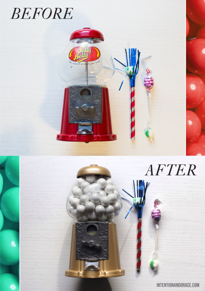 Gold Gum ball Candy machine DIY for $10 and a can of spray paint. Great piece for office or party.  |  Intentionandgrace.com