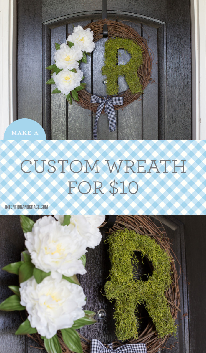 This initial wreath was so easy to make and only cost me $12. Make your door pop with this simple front door DIY  |  Intentionandgrace.com