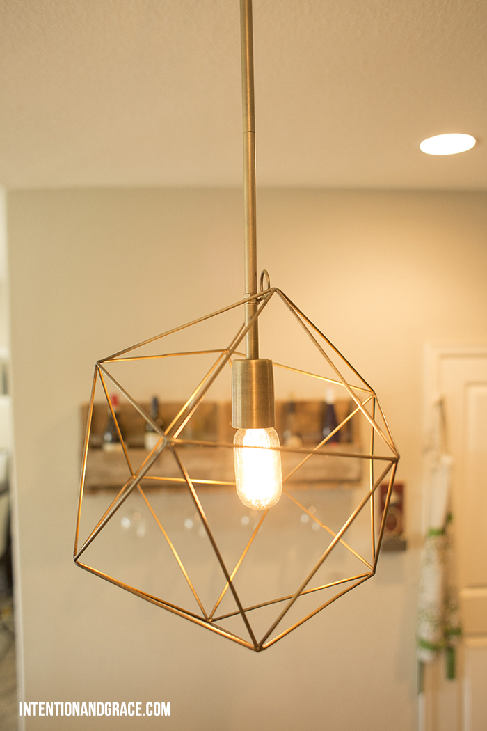 DIY Pendant lighting from a desk lamp  |  intentionandgrace.com