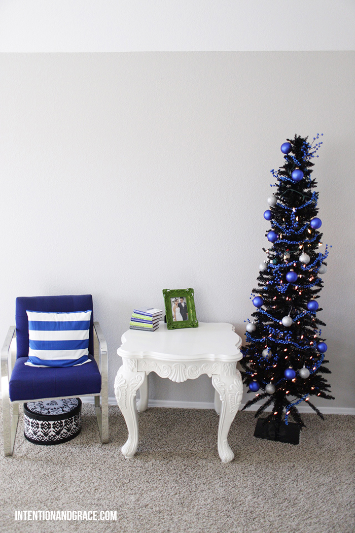 2014 Bedroom Christmas Decor  | Blue, white, silver, black holiday tree  |  Intentionandgrace.com