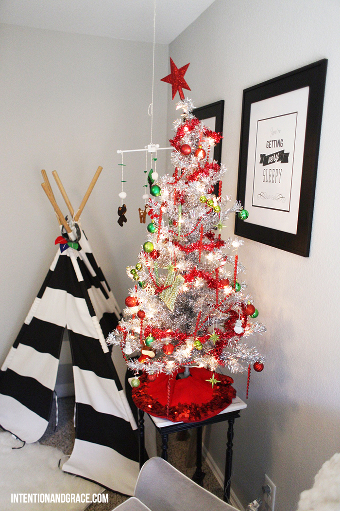 Christmas tree and a teepee for a kids room holiday decor