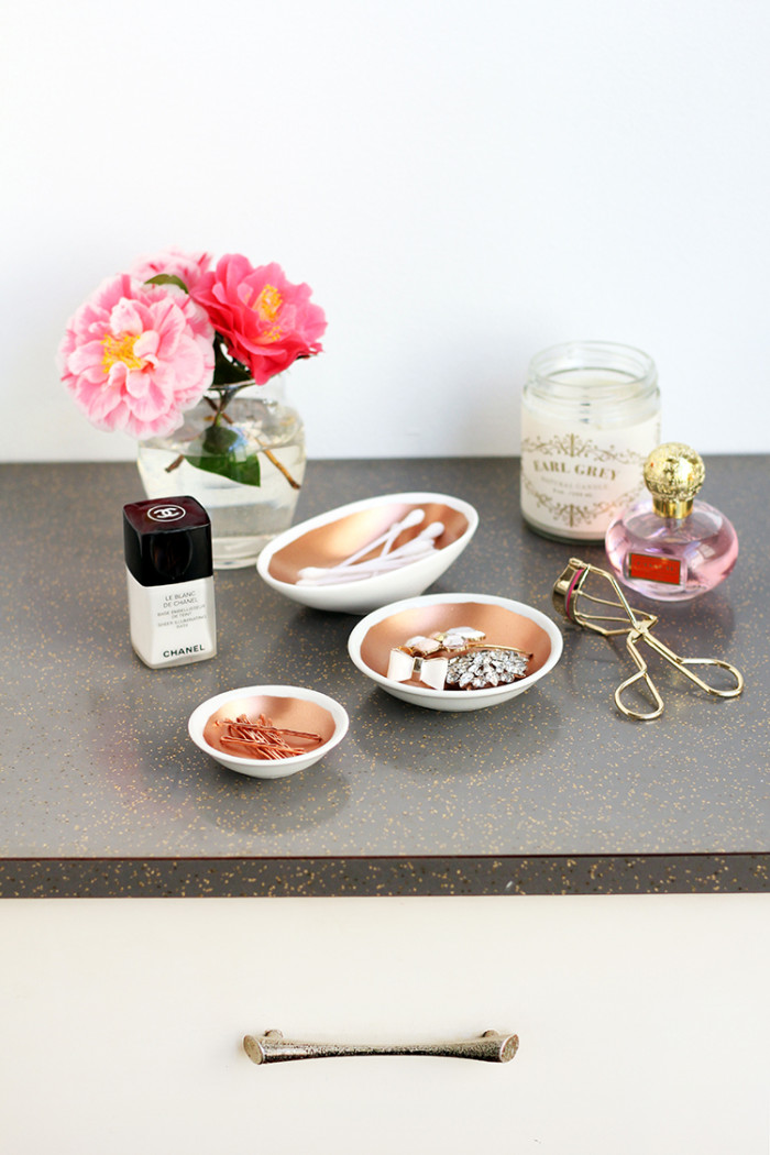 Diy copper painted ceramic bowls