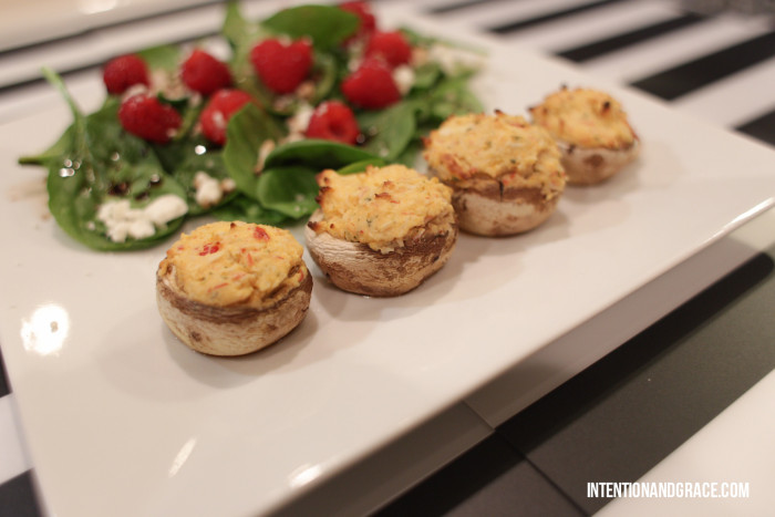 Seafood stuffed mushrooms—easy recipe with only two ingredients  |  Intentionandgrace.com