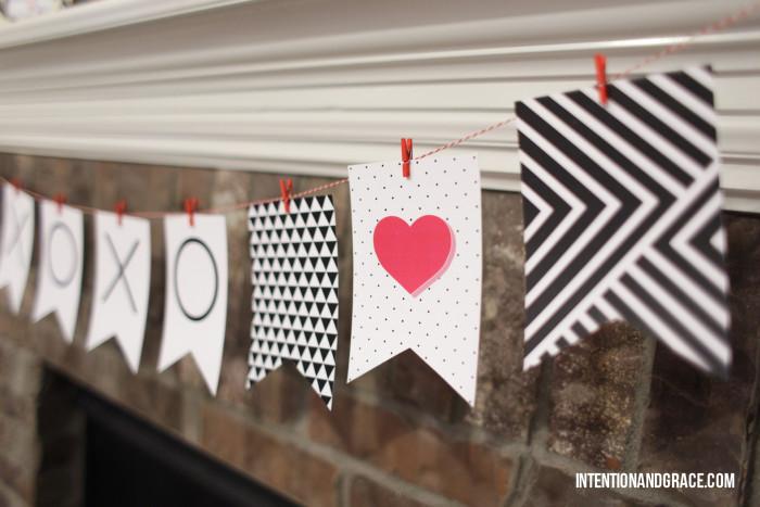 Printable Valentines banner   |  Intentionandgrace.com