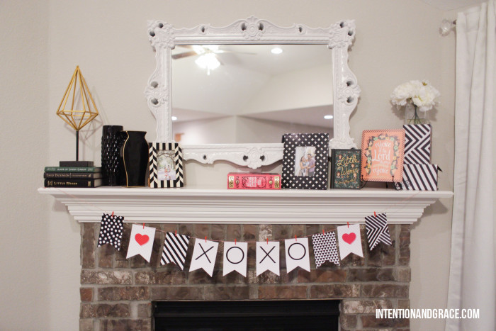 Valentines Day Bunting Banner for the mantel or office  |  Intentionandgrace.com
