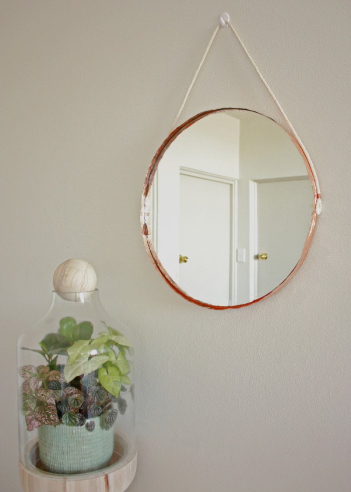 DIY Copper and rope mirror