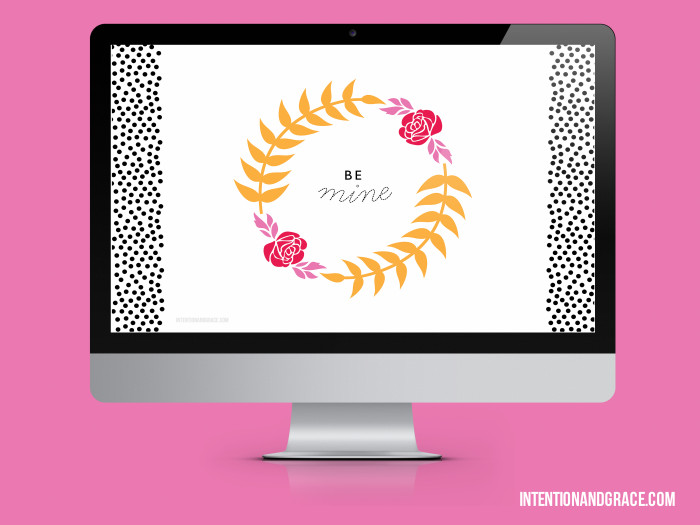 Free desktop wallpaper for valentines day. Be mine floral wreath and polka dots.  |  Intentionandgrace.com
