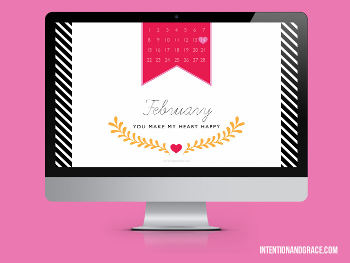 Free desktop wallpaper digital download with  February 2015 calendar   |  Intentionandgrace.com