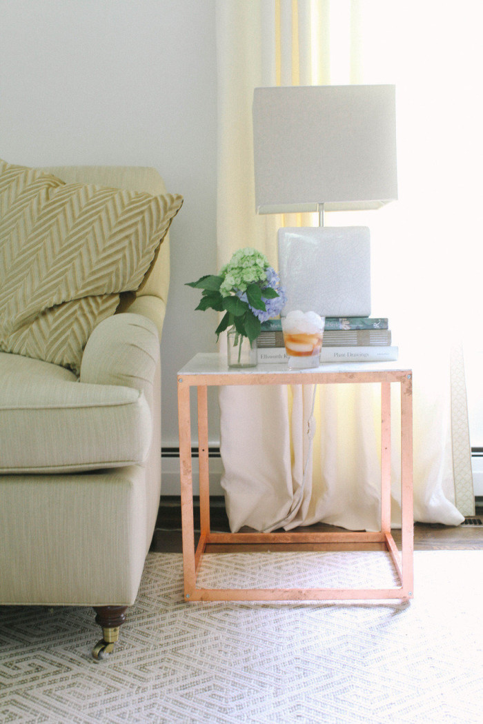 DIY Ikea Hack with copper and mable