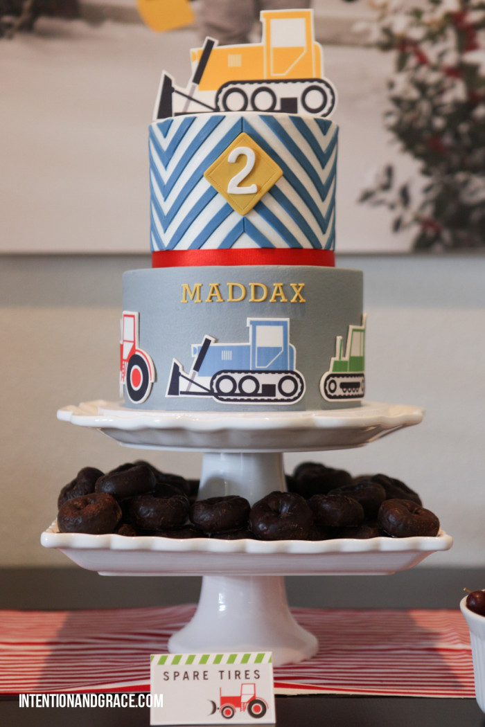 Second Birthday Party Modern Tractor and Construction theme cake  |  intentionandgrace.com
