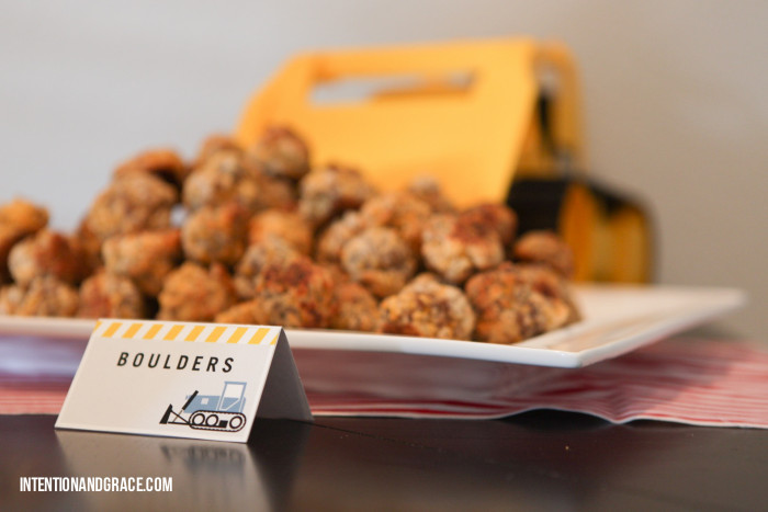 Sausage Balls recipe with tractor and truck themed birthday party  |  intentionandgrace.com