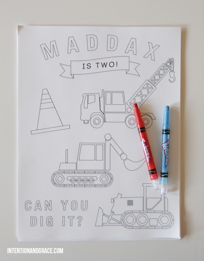 Second Birthday Party Modern Tractor and Construction theme coloring pages  |  intentionandgrace.com
